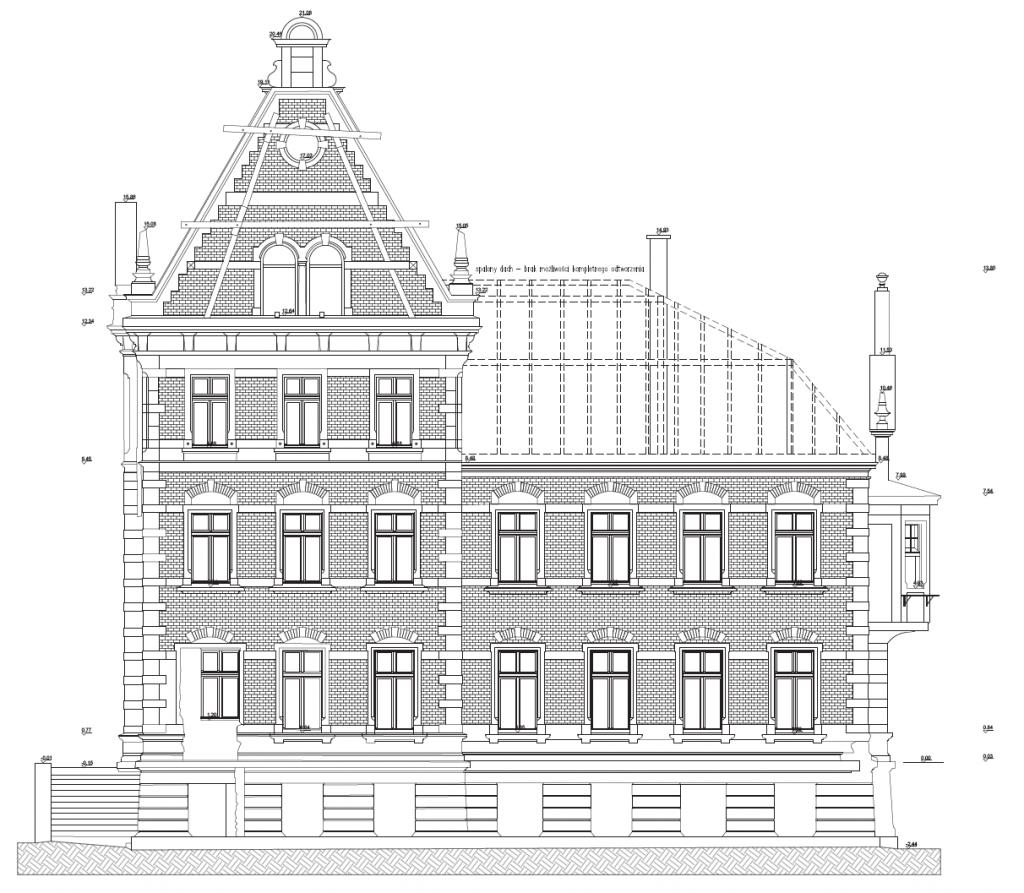 Inwentaryzacja architektoniczna zespołu zabytkowych budynków przy ulicy Angielska Grobla w Gdańsku