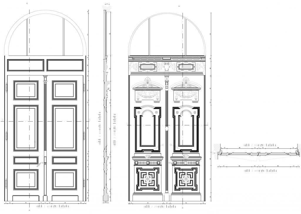 Inwentaryzacja detali architektonicznych - drzwi jednej z łódzkich kamienic