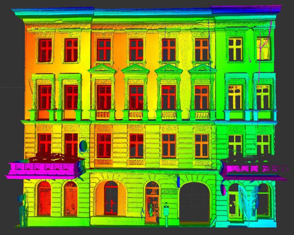 Skaning laserowy zabytkowej kamienicy w Łodzi