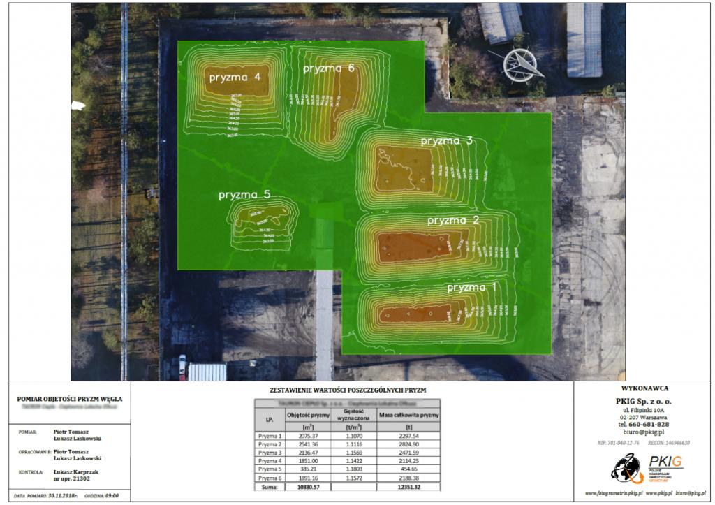 Inwentaryzacja objętości i gęstości dla Grupy Tauron Wytwarzanie S.A.- wizualizacja z warstwicami